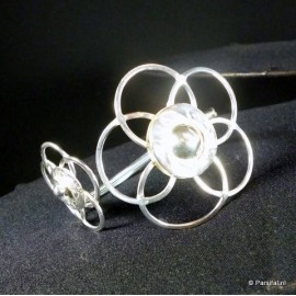 B1120S Silverplated Flower Bangle